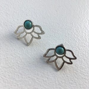Front to back Stud Earring Turquoise colored
